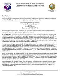 Form DHCS 6210 Medi-Cal Physician Application/Agreement - California