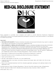 "Form DHCS6207 ""Medi-Cal Disclosure Statement"" - California"