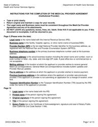 Form DHCS 9098 Medi-Cal Provider Agreement (Institutional Provider) - California