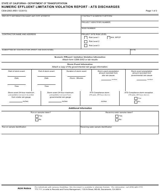 Form CEM-2063  Printable Pdf
