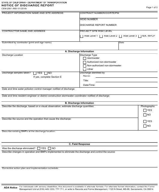 Form CEM-2061  Printable Pdf