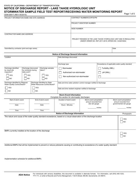 Form CEM-2061T  Printable Pdf
