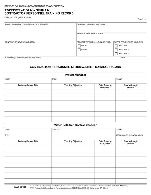 Form CEM-20DCON  Printable Pdf
