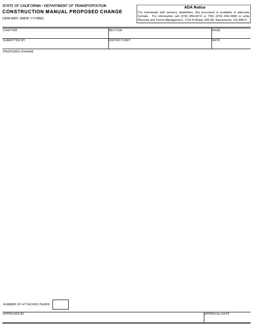 Form CEM-9001  Printable Pdf