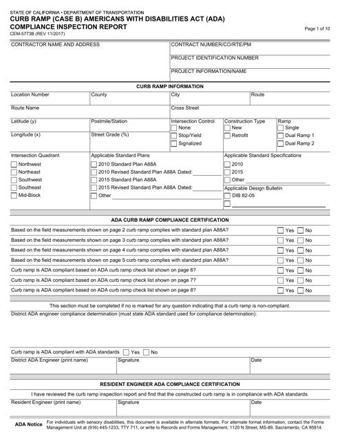 Form CEM-5773B  Printable Pdf