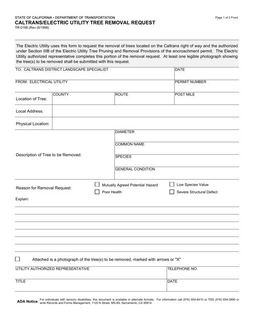 Form TR-0168  Printable Pdf