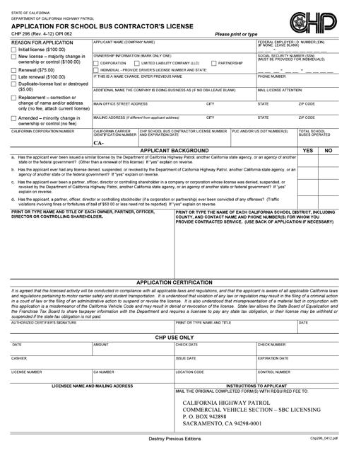 Form CHP296  Printable Pdf