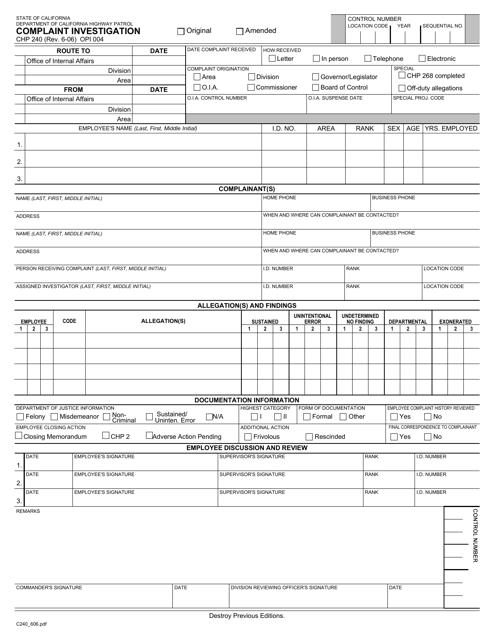 Form CHP240  Printable Pdf