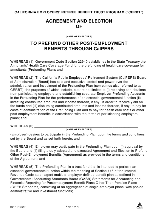"""""""Agreement and Election to Prefund Other Post Employment Benefits Through Calpers"""" - California Download Pdf"""