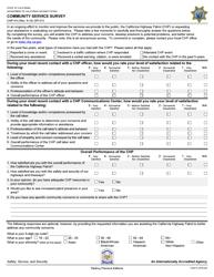 "Form CHP414 ""Community Service Survey"" - California"
