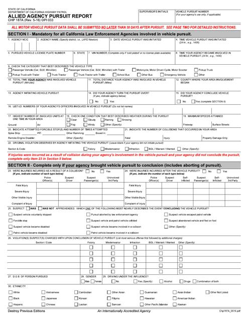 Form CHP187A  Printable Pdf