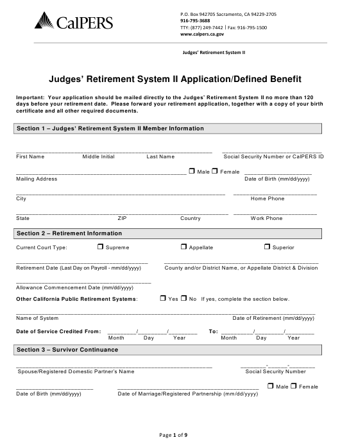 """Judges' Retirement System Ii Application/Defined Benefit"" - California Download Pdf"