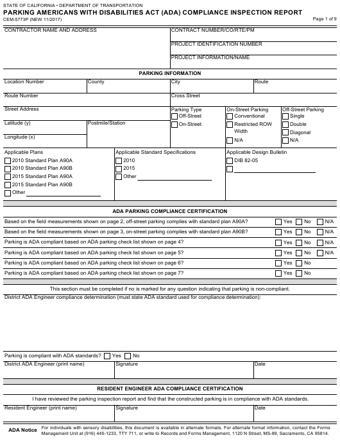 Form CEM-5773P  Printable Pdf