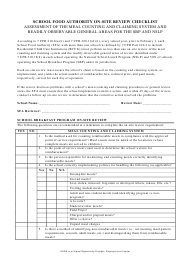 """School Food Authority on-Site Review Checklist"" - Kentucky"