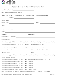 """""""Options Counseling Referral Information Form"""" - Colorado"""
