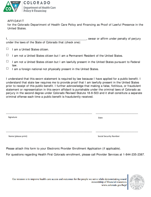 """Affidavit of Lawful Presence"" - Colorado Download Pdf"