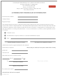 """Form WC189 """"Authorization for Release of Information"""" - Colorado"""