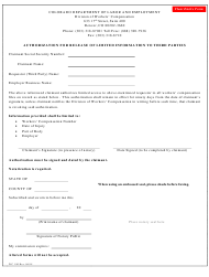 """Form WC190 """"Authorization for Release of Limited Information to Third Parties"""" - Colorado"""