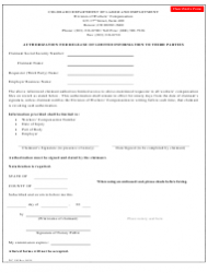 Form WC 190 Authorization for Release of Limited Information to Third Parties - Colorado