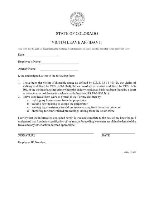 """Victim Leave Affidavit Form"" - Colorado Download Pdf"