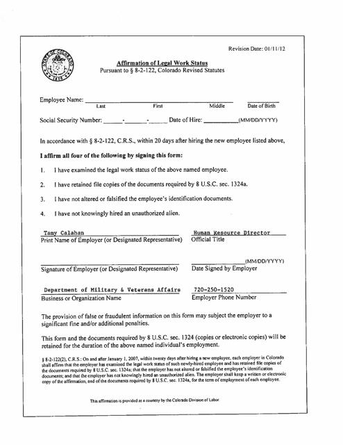 """Affirmation of Legal Work Status"" - Colorado Download Pdf"