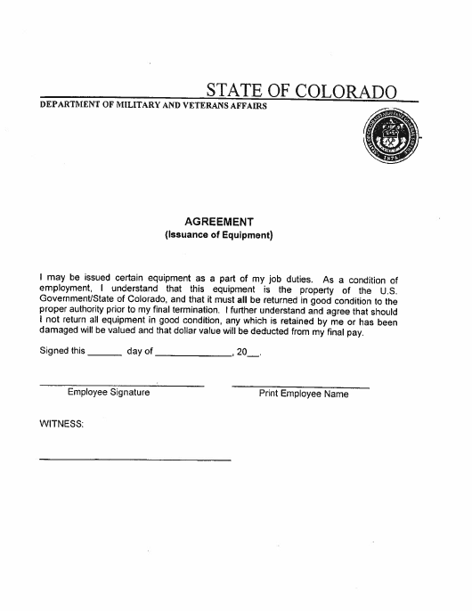 """Issuance of Equipment Agreement Form"" - Colorado Download Pdf"