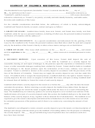 Residential Lease Agreement Template - Washington, D.C.