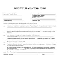 """Disputed Transaction Form"" - Colorado"