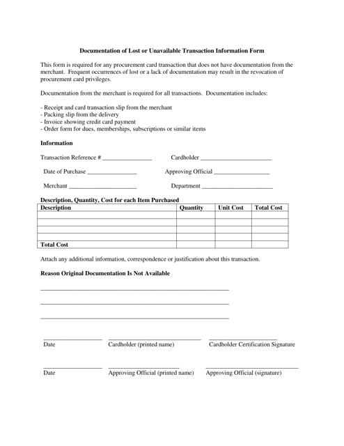 """Documentation of Lost or Unavailable Transaction Information Form"" - Colorado Download Pdf"
