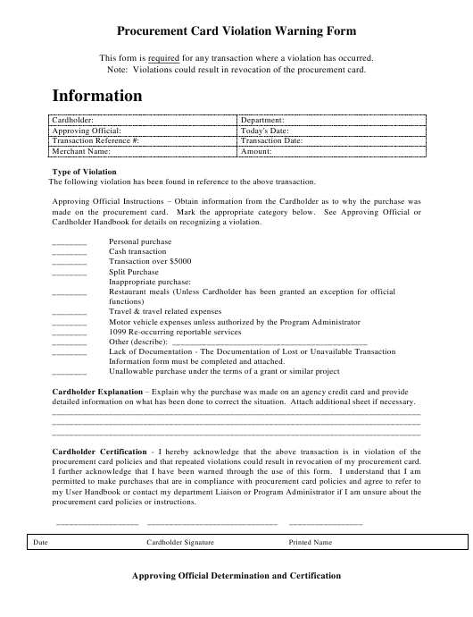 """Procurement Card Violation Warning Form"" - Colorado Download Pdf"