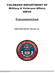 """Procurement Card Department Manual"" - Colorado"