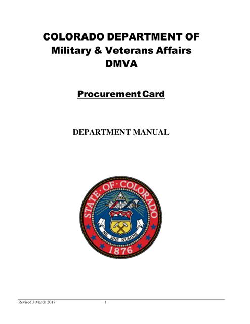 """Procurement Card Department Manual"" - Colorado Download Pdf"