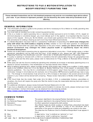 "Instructions for Form JDF1406 ""Motion/Stipulation to Modify/Restrict Parenting Time"" - Colorado"
