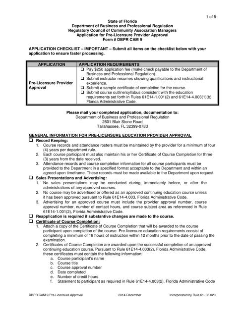 Form DBPR CAM9  Printable Pdf