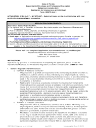 "Form DBPR ALU1 ""Application for Licensure as an Individual"" - Florida"