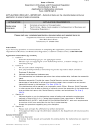 Form DBPR BAR 5 Application for Barbershop Licensure - Florida