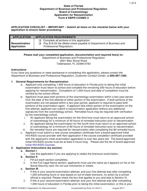 """Application for Reexamination"" - Florida Download Pdf"