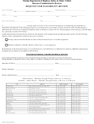 """Form HSMV72034 """"Request for Eligibility Review"""" - Florida"""