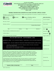 Form HSMV-81409 Mobile Home Dealer/Installer License Application - Florida
