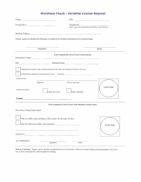 """Worthless Check - Hardship License Request Form"" - Florida Download Pdf"