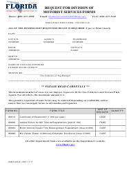 Form HSMV 83416 Request for Division of Motorist Services Forms - Florida