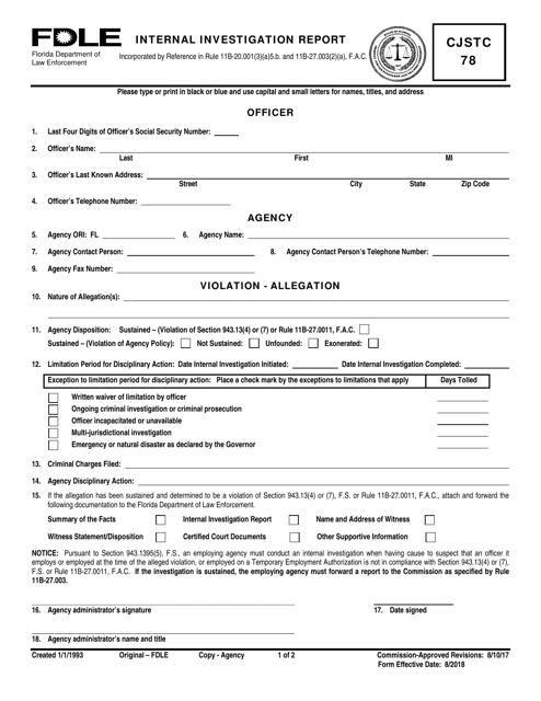Form CJSTC78  Printable Pdf
