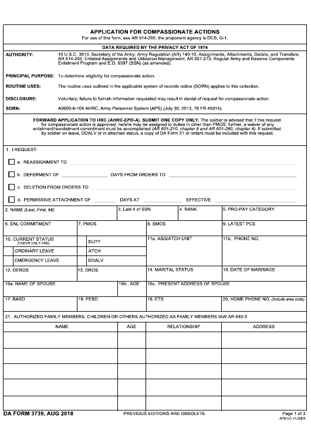 DA Form 3739 Fillable Pdf