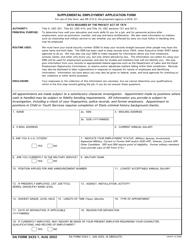 DA Form 3433-1 Supplemental Employment Application Form