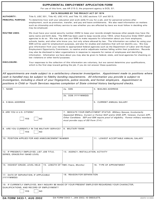 DA Form 3433-1 Printable Pdf