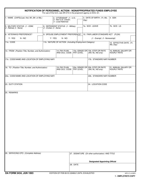 DA Form 3434  Printable Pdf
