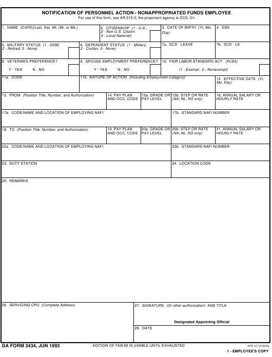 DA Form 3434  Fillable Pdf