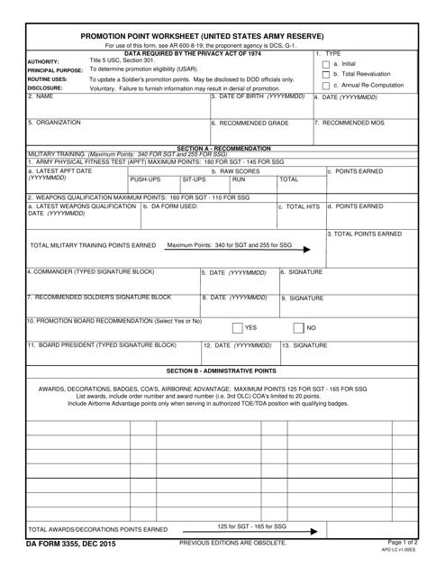 DA Form 3355 Fillable Pdf