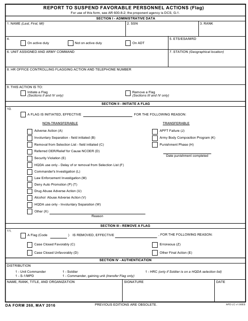 DA Form 268  Printable Pdf