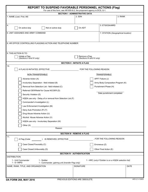 DA Form 268  Fillable Pdf